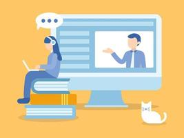 mujer sentada en libros aprendiendo en curso en línea vector