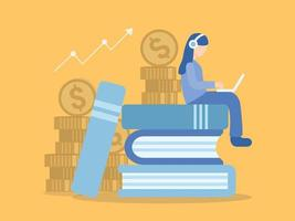 Mujer sentada en libros aprendiendo negocios y finanzas en línea vector
