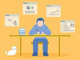 Man Sitting at Desk Learning in Online Course vector