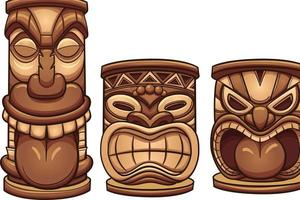 Brown Tiki Totems vector