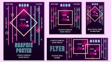 conjunto de plantillas de redes sociales geométricas rosadas