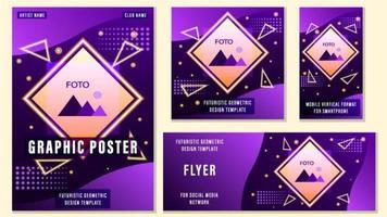 Set of Purple Geometric Social Media Templates vector