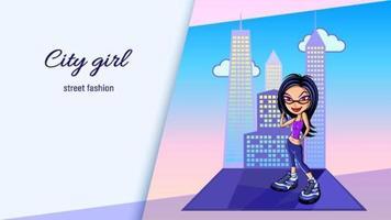 Cartoon Girl Posing in Front of Building vector