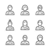 conjunto de iconos de avatar de personas médicas