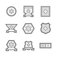 iconos de etiquetas de ambulancia médica vector