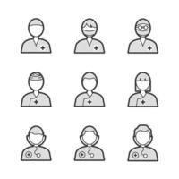 Medical Surgeon Avatar Icons vector