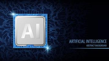 Artificial Intelligence AI Blue Background vector