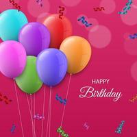 balões coloridos feliz aniversário saudação design
