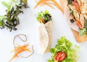 Flat lay of chicken salad wraps