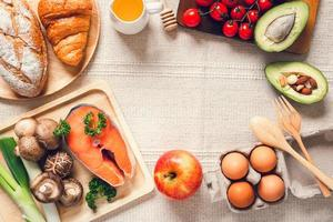 Table top view of healthy foods