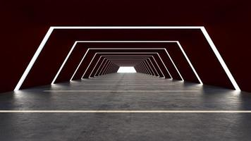 A 3D render of an abstract hall
