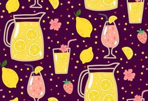 patrón sin costuras de verano con limonada y elementos de verano vector