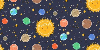 Seamless space pattern with sleeping planets