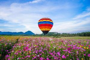 Hot air balloon landing in field of flowers