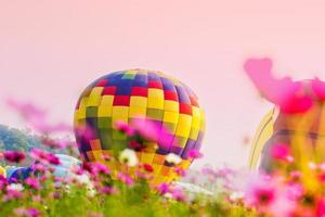 Colorful hot air balloons in a field of flowers