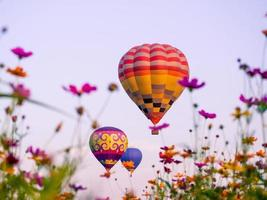 Colorful hot air balloons flying over a field of flowers