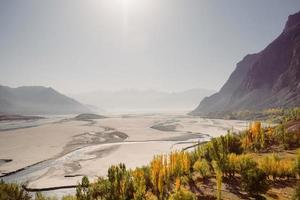 View of the Indus River flowing through the Katpana desert