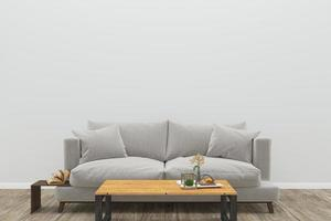 Living room with gray sofa and rectangular coffee table  photo
