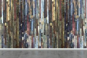 Empty room with multicolored wooden wall