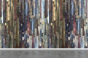 habitación vacía con pared de madera multicolor
