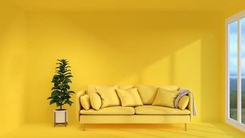 Yellow living room with modern design photo