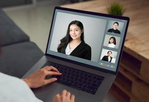 Person making a business video call