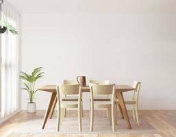 Dining room on white background, front view
