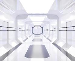 Spaceship rendering with bright white corridor