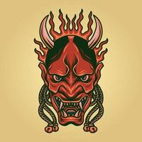 Scary Oni Mask  vector