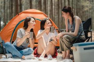 Group of young Asian friends camping together in a forest.