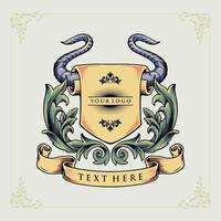 emblema heráldico de cuerno de toro vector