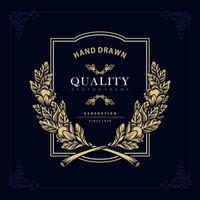 Golden label flourish Engrave vector