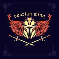 Spartan helmet with crossed swords and wings vector