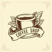 Hot coffee shop badge vector