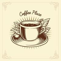 Coffee Label Drawing Traditional vector