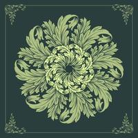 Green floral mandala  vector
