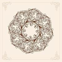 Brown mandala with floral elements vector
