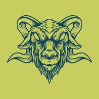 Goat head drawing vector