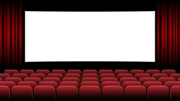 Cinema movie theater with blank screen and red seat