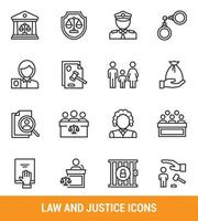 Law and justice outline icon set
