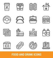 Fast food and drink line icon set vector