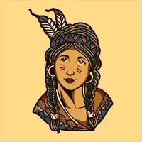 chica nativa americana vector