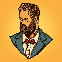 Pompadour man on yellow background vector