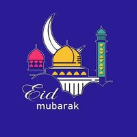Eid Mubarak Card with Colorful Moon and Mosque