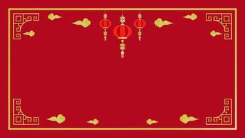 Chinese New Year golden elements and frame on red