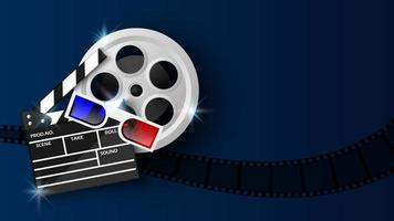 Clapper board, 3D glasses and film reel on blue