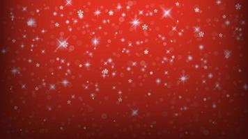 Lights and snowflakes on red gradient