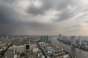 Bangkok city scape under cloudy skies