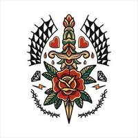 Traditional rose and dagger tattoo design vector