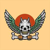 Winged skull perched on bone design vector